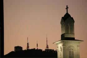 出島神学校と稲佐山